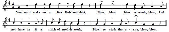 "20. ""Blow, ye Winds, Blow"", from Medfield, Mass., first printed in Rosa S.Allen, Family Songs, 1899; here from Barry 1905, p. 49 & 212"