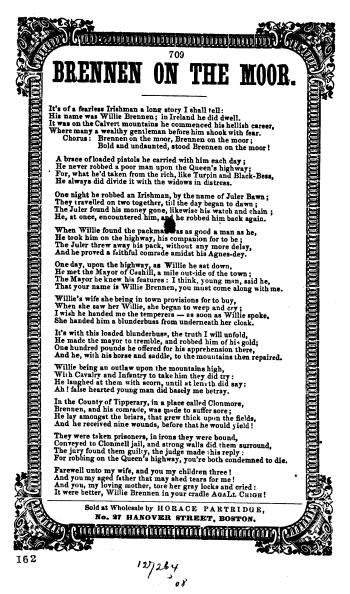 "11. ""Brennen  On The Moor"", songsheet, Boston n.d. (ca. 1860s), from: American Songsheets, Rare Book and Special Collections Division, Library of Congress (Digital ID as101620)"