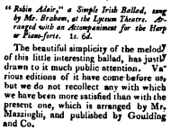 18. Review of sheet music: Robin Adair. A Simple Irish Ballad, by J. Mazzinghi, Goulding & Co. [1812], in: Monthly Magazine And British Register, Vol. 33, 1812, No. 224, March 1, p. 166